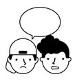 boys face sad expression speech bubble vector image