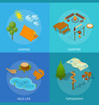 camping card set isometric view vector image