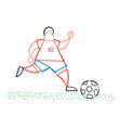cartoon soccer player man running and dribble vector image vector image
