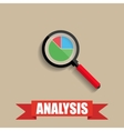 chart pie under the magnifying glass vector image