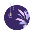 circle purple plant loft lamp modern banner vector image vector image