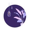 circle purple plant loft lamp modern banner vector image