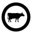cow icon in round black color set vector image