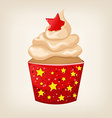 cute colorful Christmas cupcake with decorations vector image