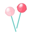 Cute pink candy lollipop icon flat design vector image