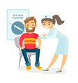 doctor giving a free flu vaccination to a patient vector image