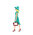 elegant woman with blue dress walking vector image vector image
