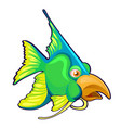 fancy green fish with bird beak isolated on a vector image vector image