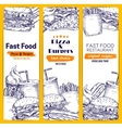 Fast food burgers pizza sandwich sketch banners vector image vector image