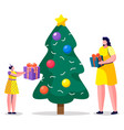 females giving present box near fir-tree vector image vector image