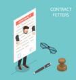 flat isometric concept contract fetters vector image