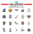 halloween filled outline icon set scary symbols vector image