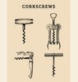 hand drawn corkscrews set retro vector image