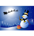 Happy Christmas and Santa with Snowman vector image vector image