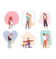 hugging kids parents embrace their children vector image