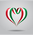 hungarian flag heart-shaped ribbon vector image vector image