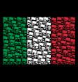 italian flag mosaic of waving flag items vector image