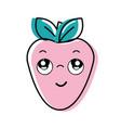 kawaii nice thinking strawberry icon vector image vector image