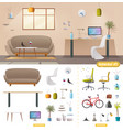 living room and office interior vector image vector image