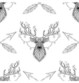 magic deer with arrows seamless pattern vector image