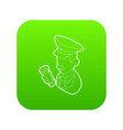 museum security guard icon green vector image