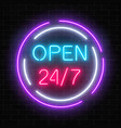 neon open 24 hours 7 days a week sign in circle