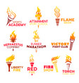 red flaming fire torch icons vector image