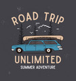 road trip summer adventure graphic for t-shirt vector image vector image