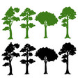set of silhouette tree vector image