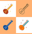 sitar icon set in flat and line styles vector image