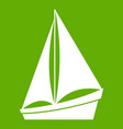 small yacht icon green vector image vector image