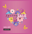 spring sale special offer banner paper cut flowers vector image vector image