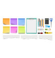 stationery collection realistic pen pencil notes vector image vector image