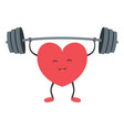 strong heart with a barbell vector image