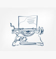 typewriter art line isolated doodle vector image