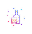 whiskey glass with ice cubes line icon scotch vector image