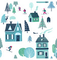 winter seamless pattern of skiing holiday vector image vector image