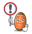 with sign rugby ball character cartoon vector image