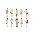young people in fashion clothes harismatic boys vector image vector image