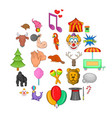 zoo circus icons set cartoon style vector image