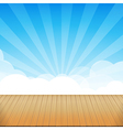 Brown wood floor texture and blue sky sunburst vector image