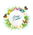 holiday gift card with easter eggs and daisies vector image
