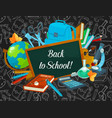 back to school welcoming poster of study supplies vector image vector image