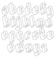 Black and white 3d font made with thin lines vector image