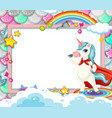 blank banner with cute unicorn cartoon character vector image