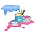 buckets with paint splashes paint vector image