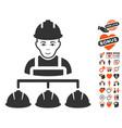 builder management icon with valentine bonus vector image vector image
