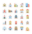 buildings flat icons pack vector image