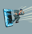 businessman punches screen phone gadget vector image