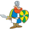cartoon medieval knight holding a shield and a swo vector image vector image